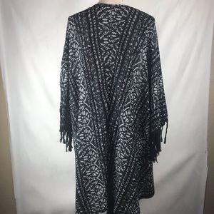 Free People Sweaters - Free People Kimono Black & White With Fringe XS/S